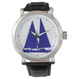 Navy Blue On White Coastal Sailboat Wristwatch