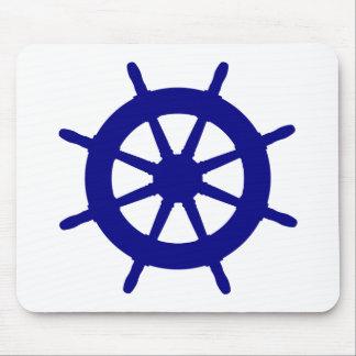 Navy Blue On White Coastal Ship Helm Mouse Pad