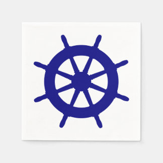 Navy Blue On White Coastal Ship Helm Paper Napkins