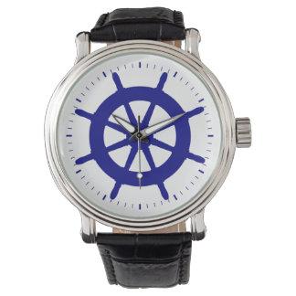 Navy Blue On White Coastal Ship Helm Watches