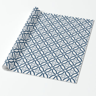 Navy-Blue On White Geometric Pattern Wrapping Paper