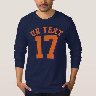 Navy Blue & Orange Adults   Sports Jersey Design T-Shirt