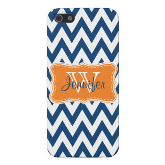 Navy Blue & Orange Trendy personalized iPhone 5 iPhone 5/5S Covers