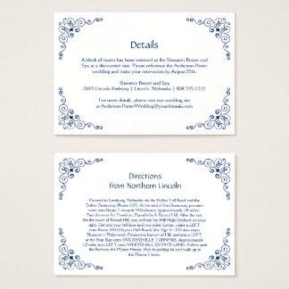Navy Blue Ornate Swirls Detail Enclosure Cards |