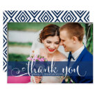 Navy Blue Overlay Script Wedding Photo Thank You Card