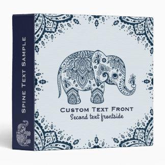 Navy-Blue Paisley Elephant & Paisley Frame Vinyl Binder