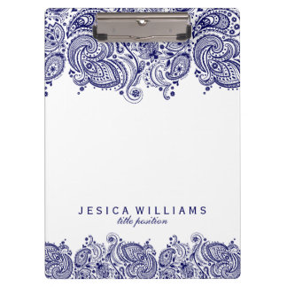 Navy Blue paisley Lace White Background Clipboard