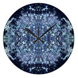 Navy blue pattern large clock