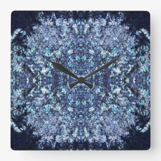Navy blue pattern square wall clock