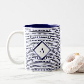 Navy Blue Paw Print Stripe Mug