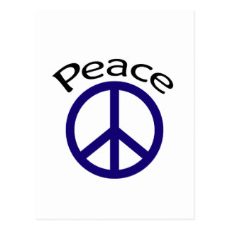 Navy Blue Peace & Word Postcard