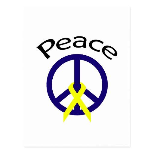 Navy Blue Peace Word & Ribbon Post Card