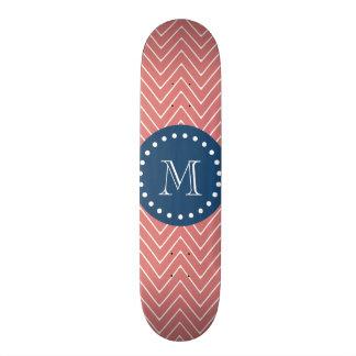 Navy Blue, Peach Chevron Pattern | Your Monogram Custom Skate Board