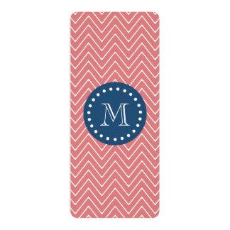 Navy Blue, Peach Chevron Pattern | Your Monogram 4x9.25 Paper Invitation Card