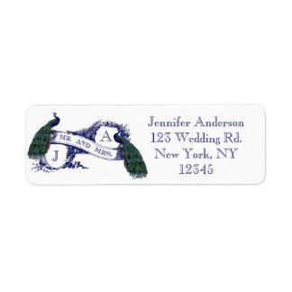 Navy Blue Peacock Wedding Return Address Label