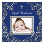 Navy Blue Photo Christening Invitations