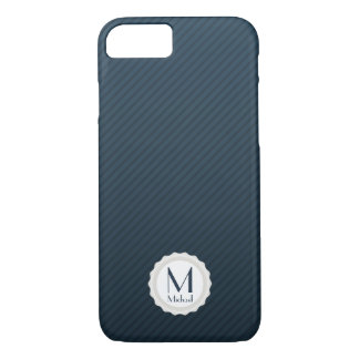 Navy Blue Pin-stripes Personalized Monogram iPhone 7 Case