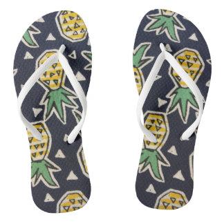 Navy Blue Pineapple Flip Flops