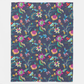 Navy Blue Pink and Yellow Floral Chintz Blanket
