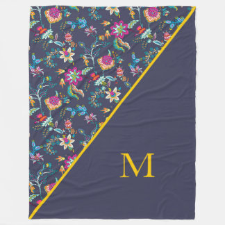 Navy Blue Pink and Yellow Floral Monogram Blanket