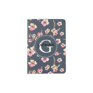 Navy Blue Pink Cherry Blossom Monogram Passport Holder