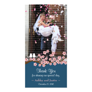 Navy Blue & Pink Cherry Blossom Photo Thank You Photo Card