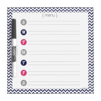 Navy Blue & Pink Chevron Menu Dry Erase Board