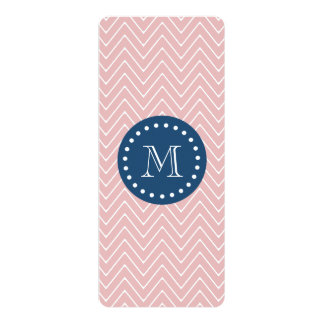 "Navy Blue, Pink Chevron Pattern | Your Monogram 4"" X 9.25"" Invitation Card"