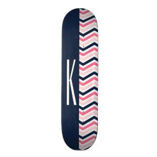 Navy Blue & Pink Chevron Stripes Skateboard Decks