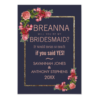 Navy Blue Pink Floral Gold Bridesmaids Card