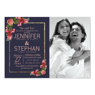 Navy Blue Pink Floral Gold Engagement Card