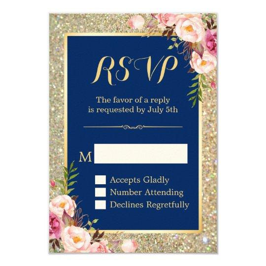 Navy Blue Pink Floral Gold Glitter Sparkling RSVP Card