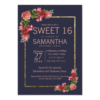 Navy Blue Pink Floral Gold Sweet 16 Invitations