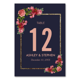 Navy Blue Pink Floral Gold Table Numbers