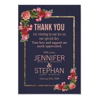 Navy Blue Pink Floral Gold Thank You Cards
