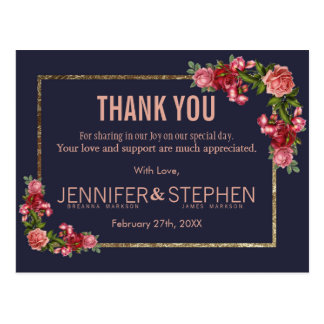 Navy Blue Pink Floral Gold Thank You Postcards