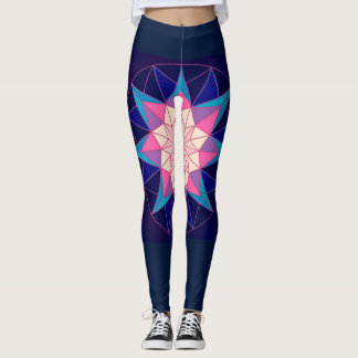 Navy Blue Pink Geometric Design Leggings