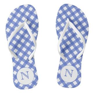 Navy Blue Pink Gingham Monogrammed Flip flops