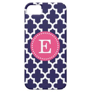 Navy Blue & Pink Modern Moroccan Custom Monogram iPhone 5 Cases