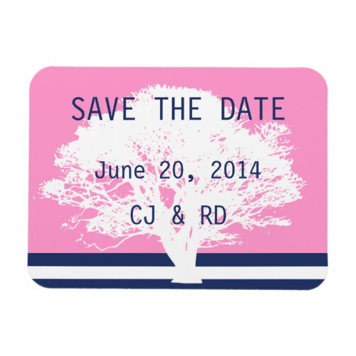 Navy Blue Pink Monogram Modern Save the Date Magnet