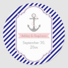 Navy blue, pink nautical wedding Save the Date Classic Round Sticker