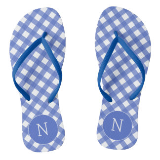 Navy Blue Pink Plaid Print Monogrammed Flip flops