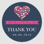 Navy Blue Pink Small Hearts Wedding Favour Sticker