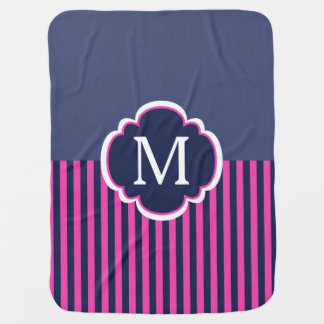 Navy Blue Pink Stripes Monogram Baby Blanket
