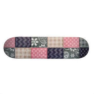Navy Blue, Pink, Tan, and Gray Cute Quilt look Skateboard Deck