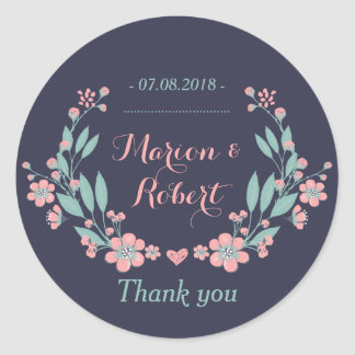 Navy Blue Pink Vintage Floral Thank You Sticker