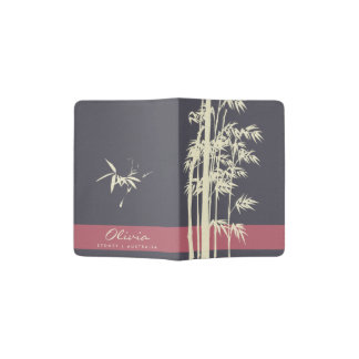 NAVY BLUE PINK WHITE LEATHER  BAMBOO MONOGRAM PASSPORT HOLDER