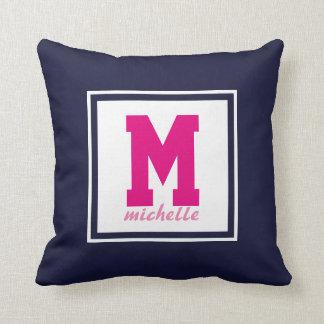 Navy Blue PINK White Preppy  Monogram NAME Custom Throw Pillow