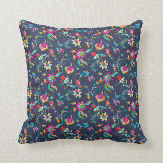 Navy Blue Pink Yellow Floral Chintz Decorator Throw Pillow