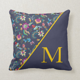 Navy Blue Pink Yellow Floral Monogram Throw Pillow